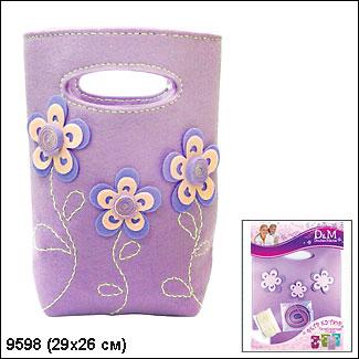 """D&M. Шьем из фетра арт.9598 Дизайнерская сумочка """"Лиловые цветы"""""""