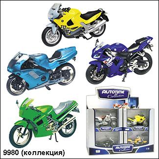 "Autotime.  Мотоцикл арт.76205A/01 ""Коллекция-4"" в асс-те 1:18"