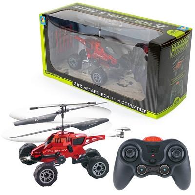 """Вертолет с гироскопом """"Gyro-Fighter"""" ездит по земле и летает, USB-зарядка 3 канала 22 см. 56384"""
