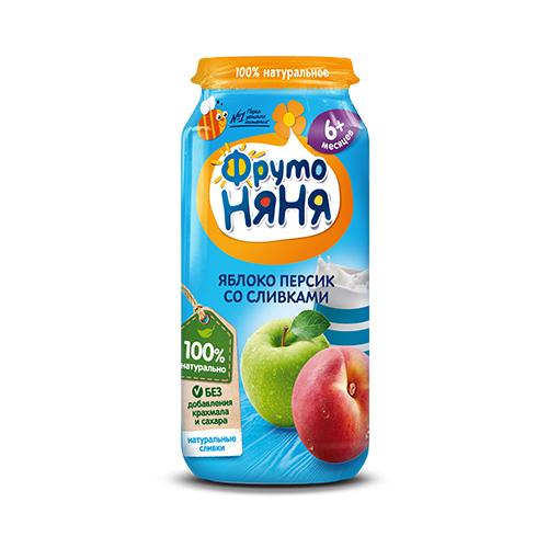 Пюре из яблок и персиков со сливками
