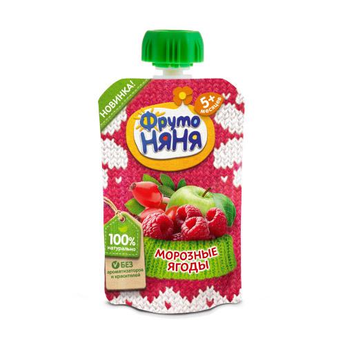 Пюре в пауче Яблоко-малина-шиповник «Морозные ягоды»