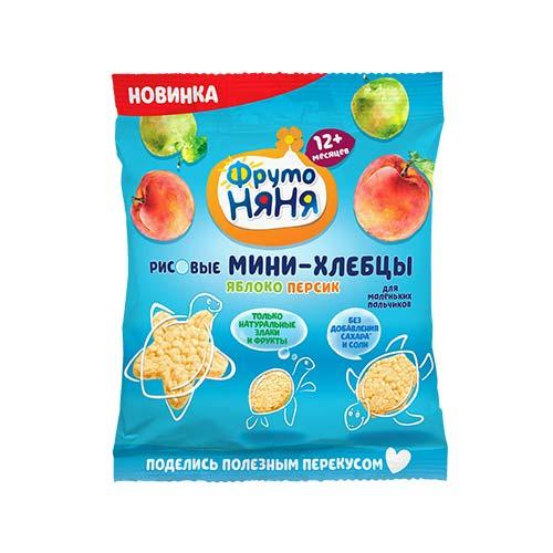 Мини-хлебцы рисовые с яблоком, персиком и пребиотиком для питания детей раннего возраста